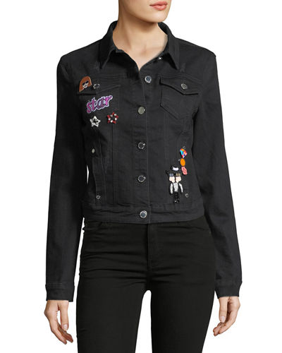 Denim Jacket with Embroidered Pins