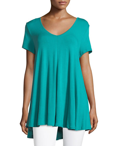 Short-Sleeve Double-V Jersey Swing Top