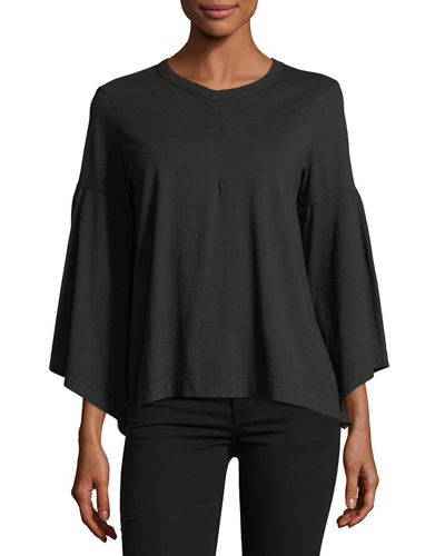 Bell-Sleeve Poplin Top