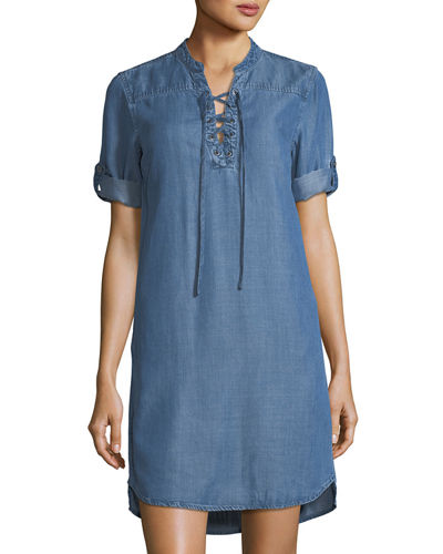 Chelsea & Theodore Tabbed-Sleeve Lace-Up Chambray Dress