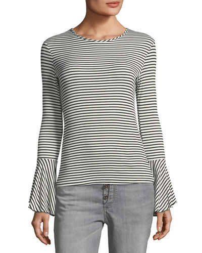 Striped Bell-Sleeve Tee