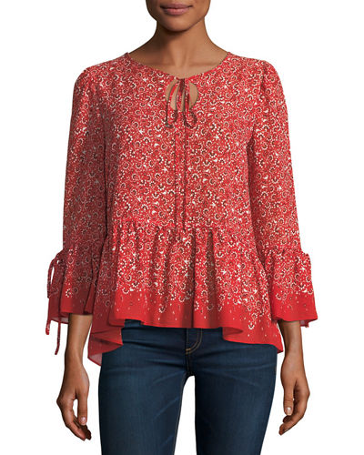 Bell-Sleeve Printed Blouse