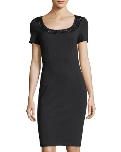 Scoop-Neck Milano Knit Dress