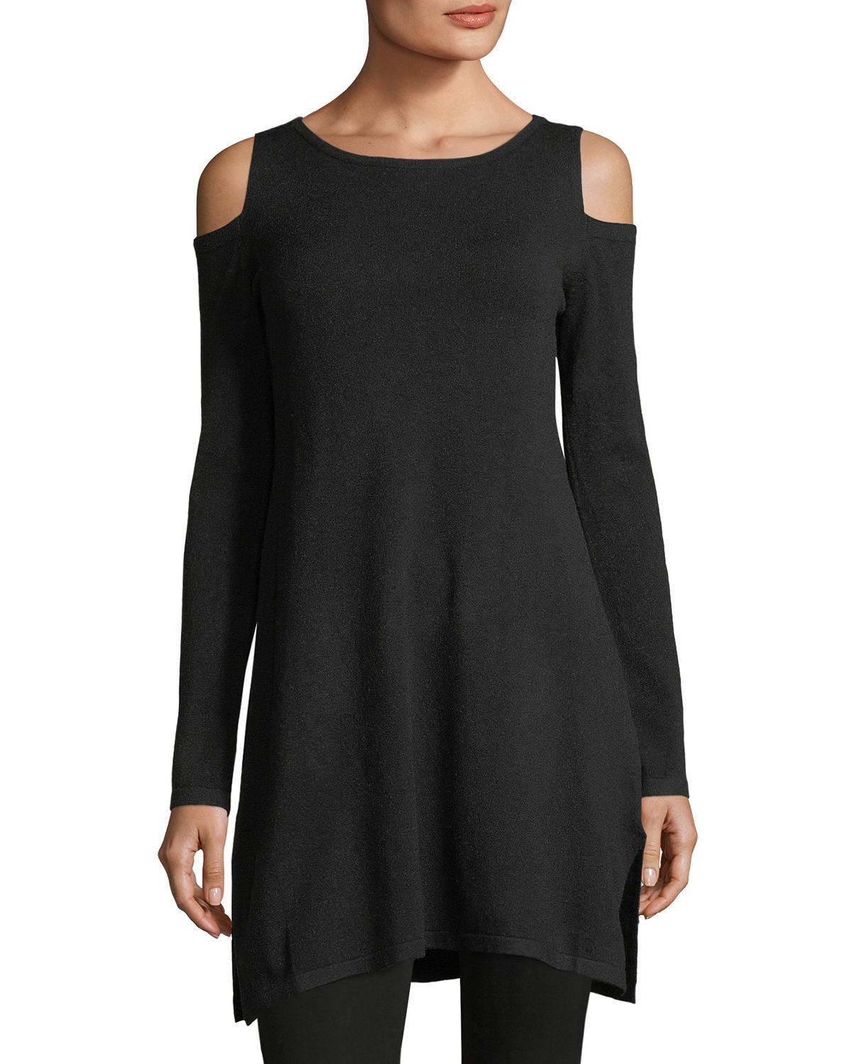 Cold-Shoulder Long Tunic Sweater