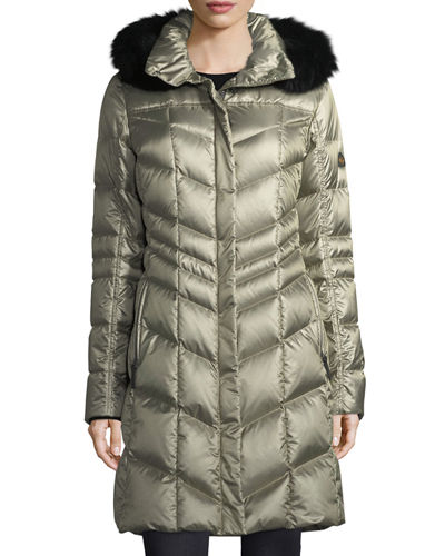 Delia Shiny Hooded Quilted Puffer Coat w/ Fox