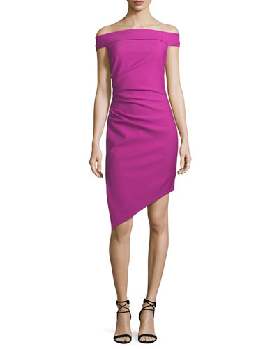 Milly Ally Off-the-Shoulder Tech-Stretch Cocktail Dress