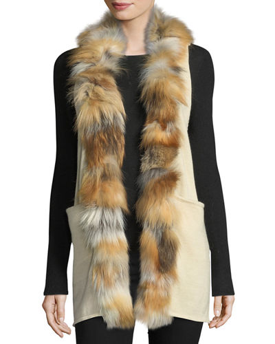 Fur-Trim Long Knit Vest