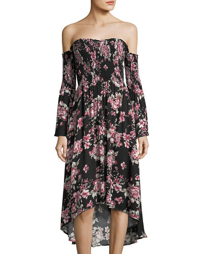 Miranda Off-the-Shoulder Floral-Print Dress