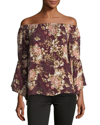 ON THE ROAD Viviana Off-The-Shoulder Floral-Print Top in Red Pattern
