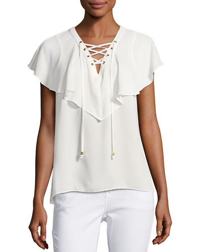Lace-Up Ruffle Top