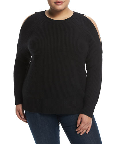 Cashmere Cold-Shoulder Sweater, Plus Size