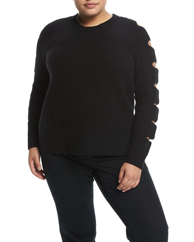 Cashmere Ladder-Sleeve Sweater