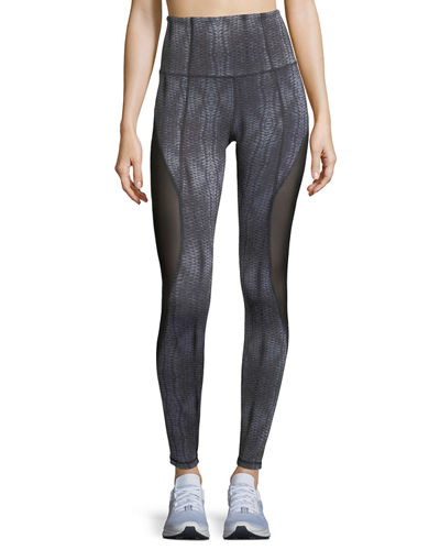 Passion Printed Mesh Insert Full-Length Leggings