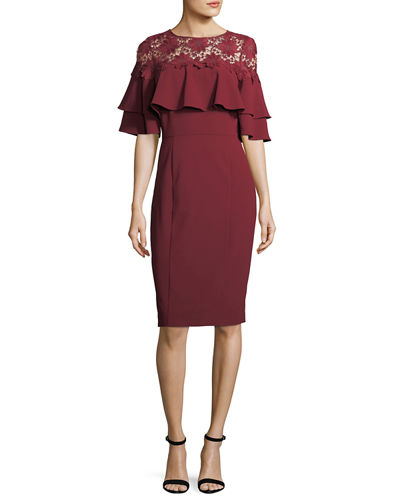 Clearance Reliable Footaction For Sale Lace-Yoke Ruffled Crepe Dress Tahari by ASL Deals Free Shipping Amazon jfNmaPXl