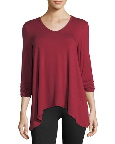 Shirred 3/4-Sleeve Jersey Top