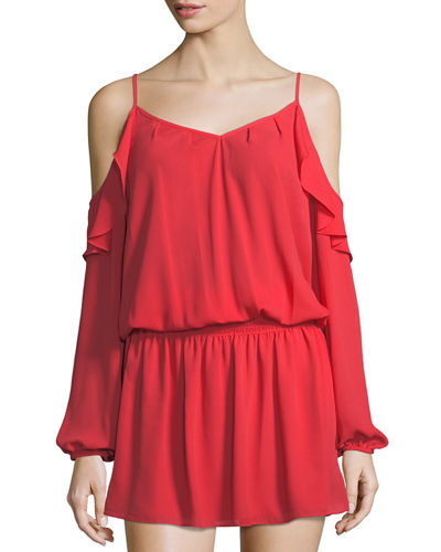 Mina Ruffled Cold-Shoulder Dress