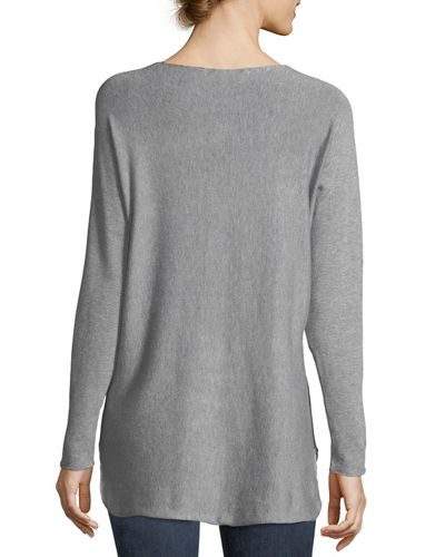 High-Low Boat-Neck Sweater
