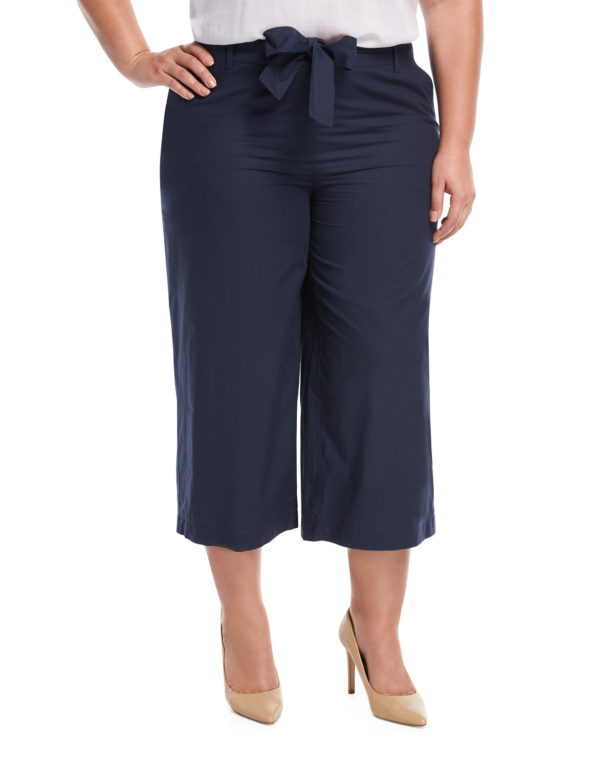 Kenmare Stretch-Cotton Cropped Pants, Plus Size