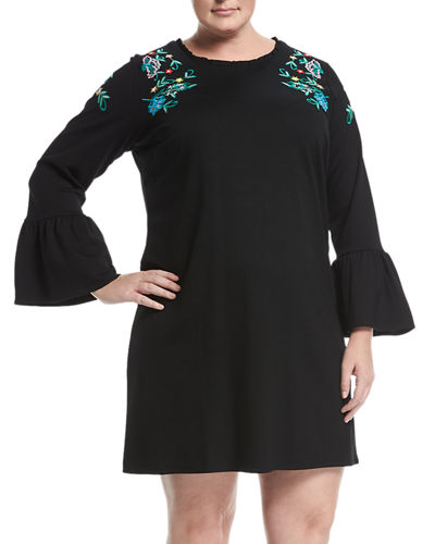 Embroidered Long-Sleeve Shift Dress, Plus Size