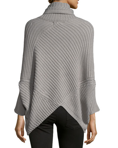 Knit Long-Sleeve Poncho