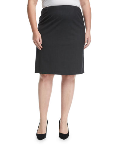 Wool-Stretch Pencil Skirt, Plus Size