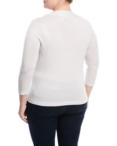 3/4-Sleeve V-Neck Sweater, Plus Size