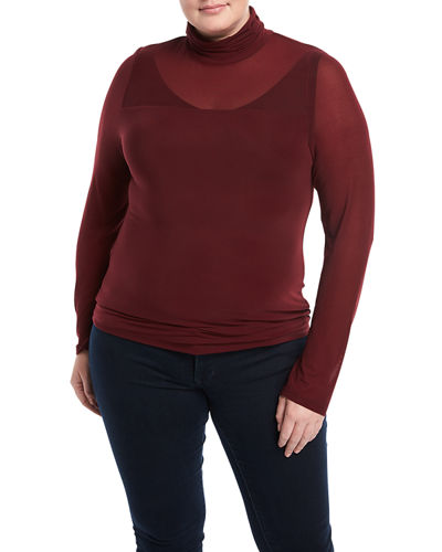 Mesh Turtleneck Tee, Plus Size