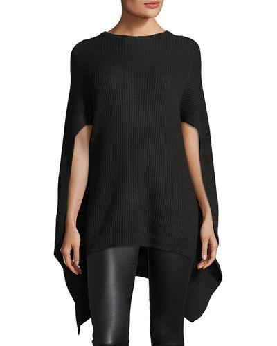 Cashmere-Blend Crewneck Ribbed Cape