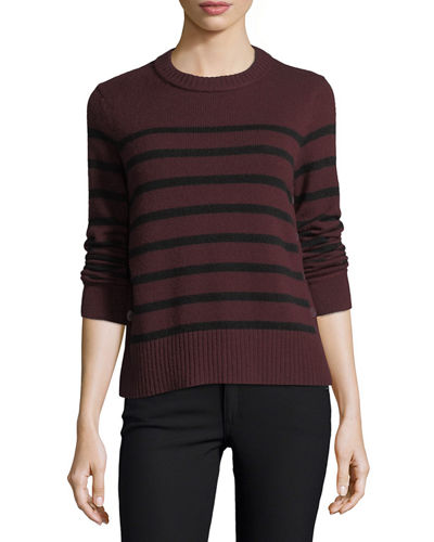 Cashmere Breton-Stripe Side-Button Sweater