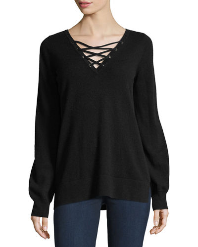 Cashmere Lace-Up V-Neck Sweater