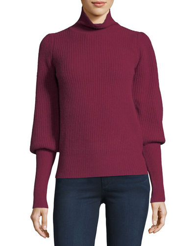 Cashmere Mutton-Sleeve Turtleneck Sweater