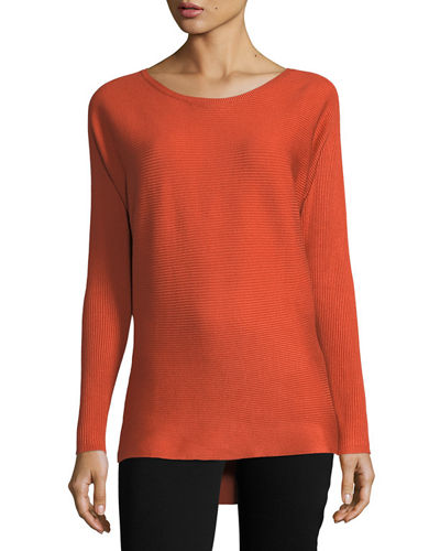 Boat-Neck Ribbed Sweater