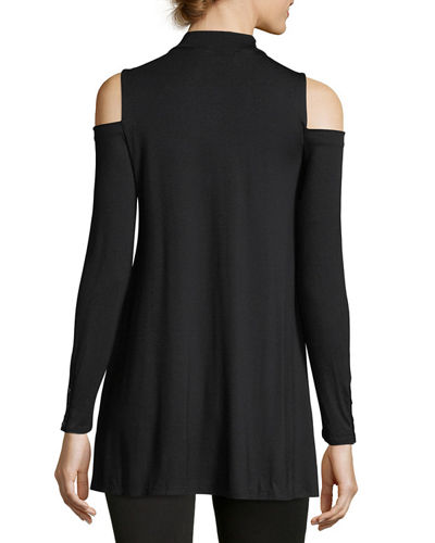 Mock-Neck Cold-Shoulder Tee