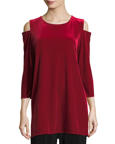 Petite Stretch Velvet Cold-Shoulder Tunic