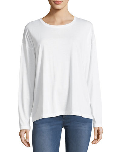 Pima Cotton Long-Sleeve Crewneck T-Shirt