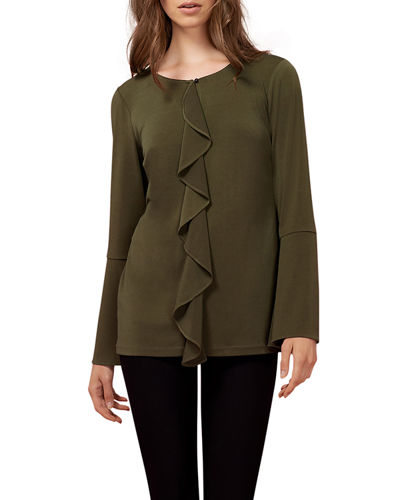 Ruffle-Front Long-Sleeve Top
