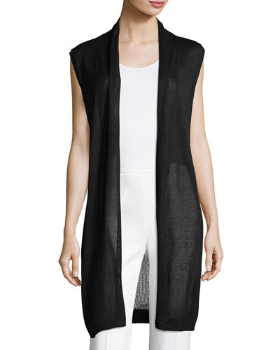Lightweight Open-Front Knit Vest