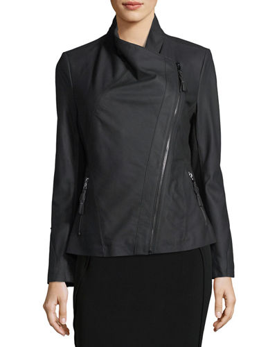 Ponté-Panel Asymmetric Zip Leather Jacket