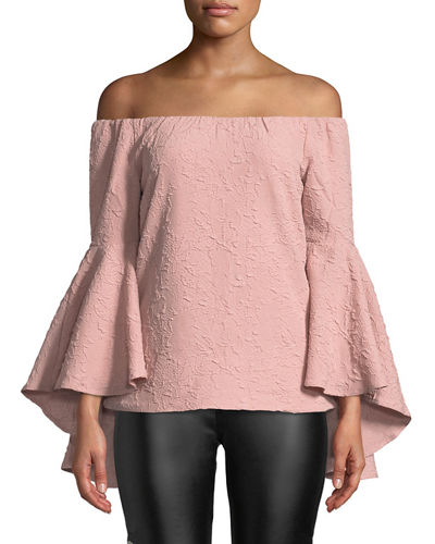 Off-the-Shoulder Textured Bell-Sleeve Blouse