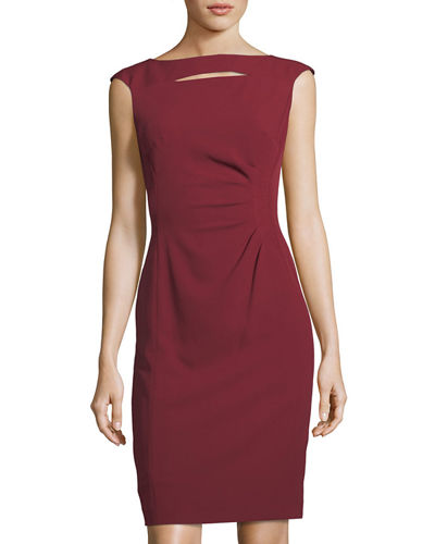 Slit-Neck Side-Ruched Sheath Dress
