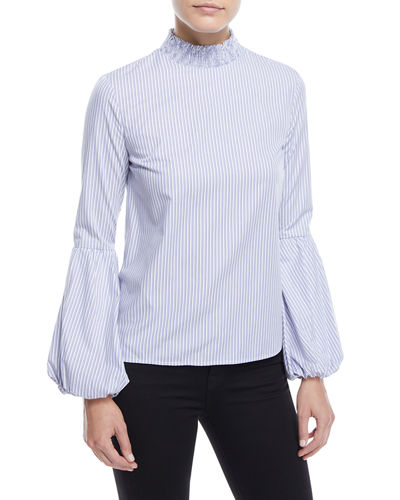 Striped Balloon-Sleeve Top