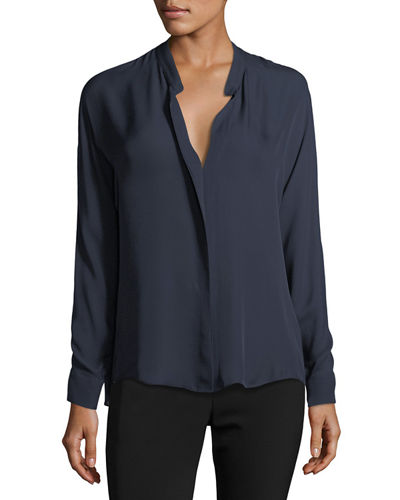 Double-Front Silk Blouse