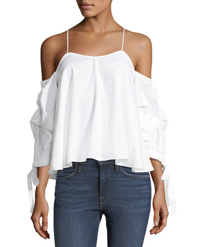 Sea Side Cold-Shoulder Striped Top