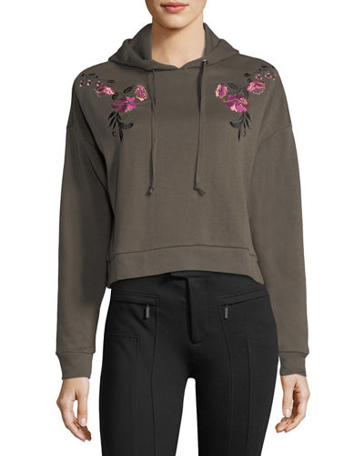 Cropped Floral-Embroidered Hoodie