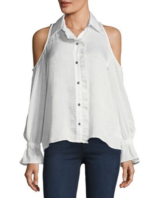 WAVERLY GREY Tessa Cold-Shoulder Top in White