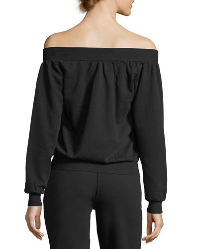 Off-the-Shoulder Zip-Up Sweatshirt