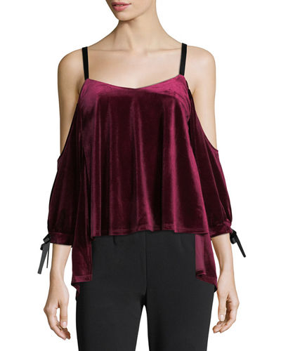 Velvet & Ribbon Cold-Shoulder Blouse