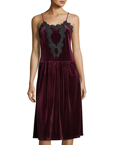 Velvet Pleated-Skirt Slip Dress