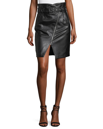 Faux-Leather High-Rise Belted Pencil Skirt