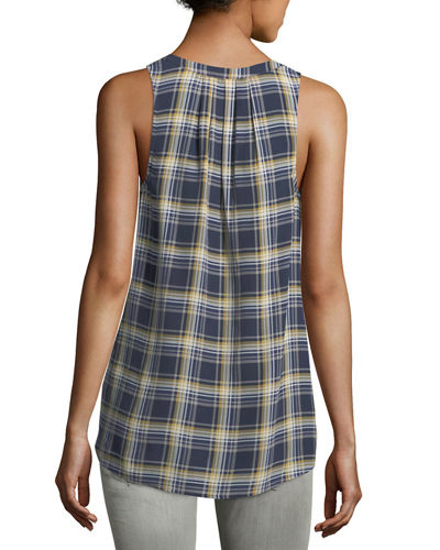 Aruna Plaid Silk Blouse